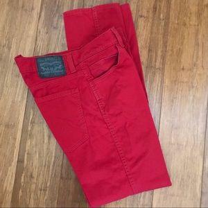 Levi's 511, 5 Pocket Jean, RED, W32, L32, slim fit